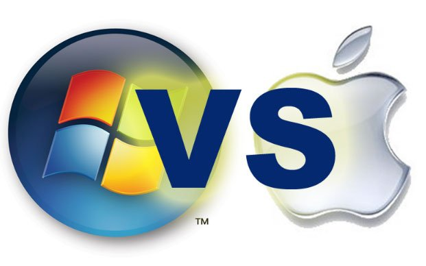 Microsoft logo versus Apple logo