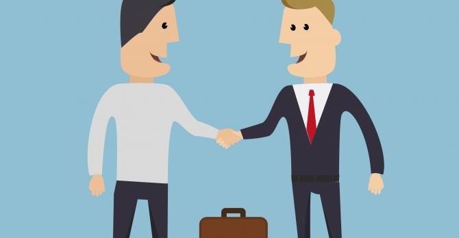 Cartoon of two men shaking hands