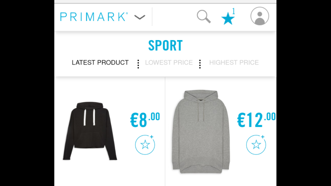 Image of sports clothes on the Penneys Website