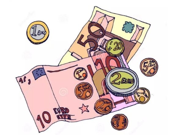 Cartoon image of euro notes and coin