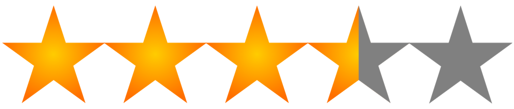 image of five stars with three and a half in gold